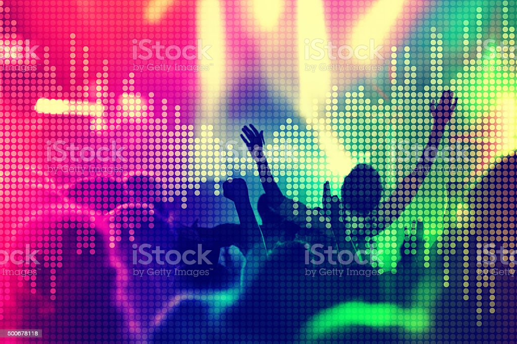 Crowd surfing at music concert, equalizer sound wave stock photo