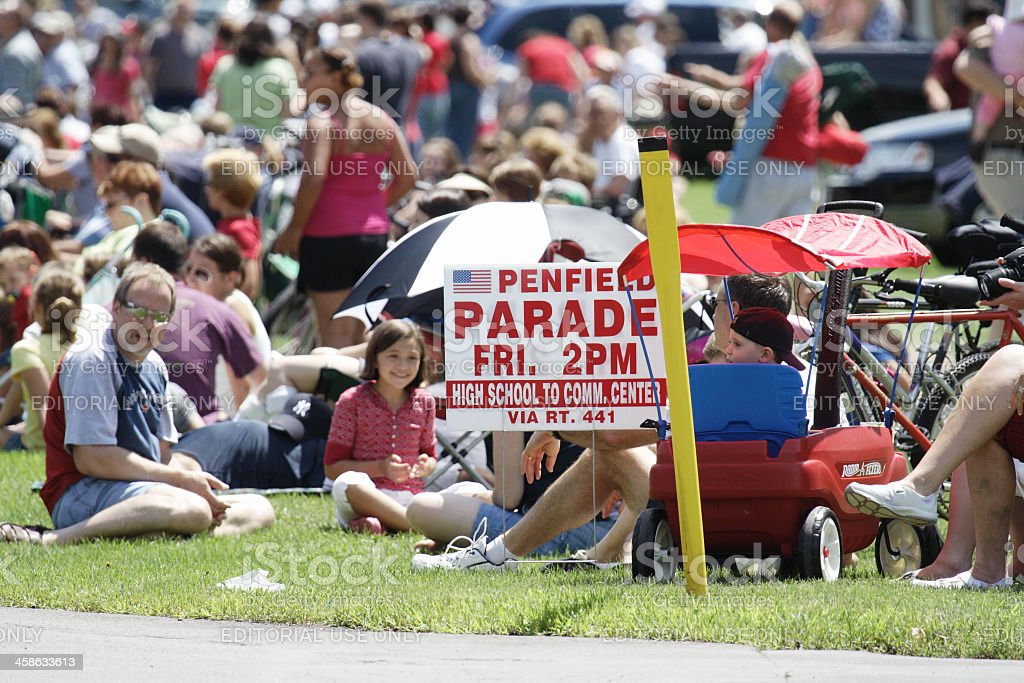 Crowd Waiting for July 4th Parade stock photo