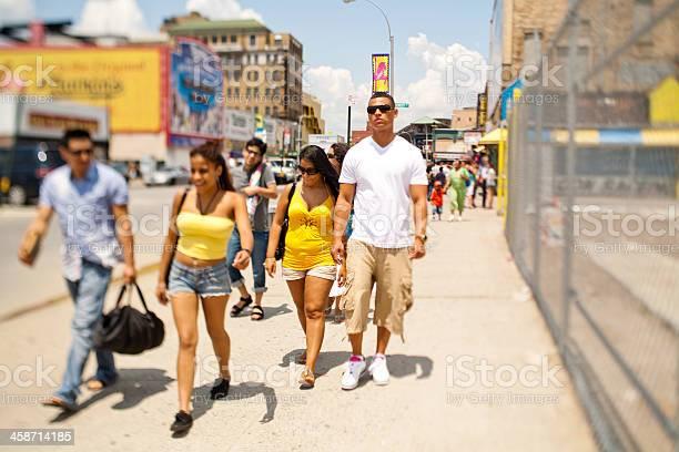 Crowd walking to Coney Island