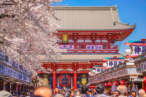 Crowd walking towards the giant paper lantern of Kobunacho in the Sensoji temple of Asakusa.