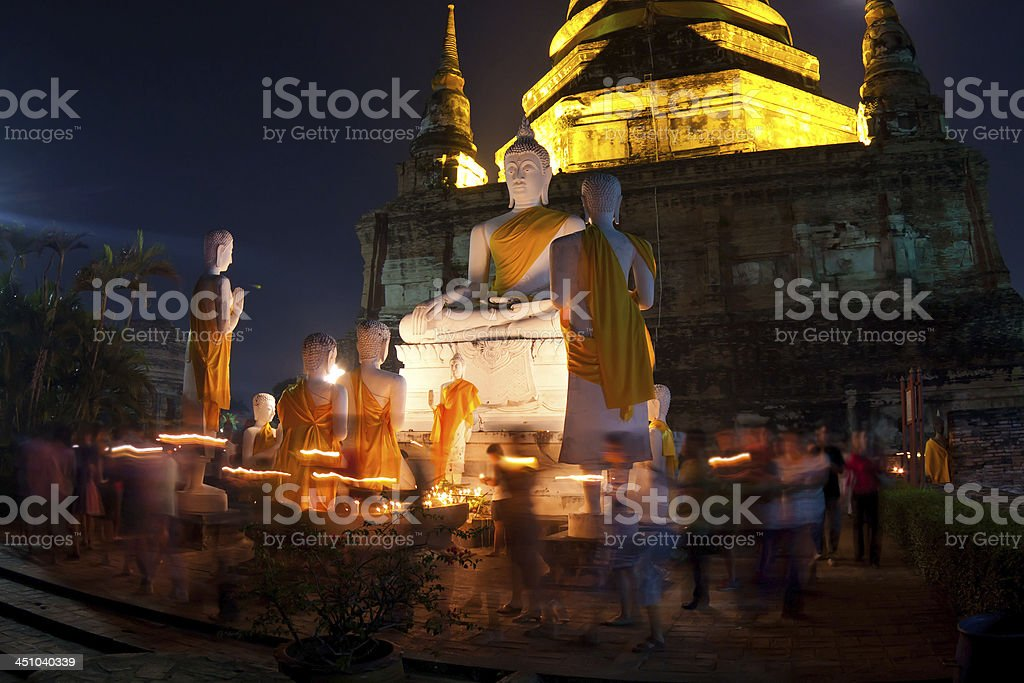 Crowd walking with Candle Light stock photo
