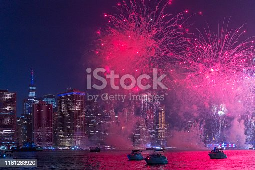Colorful fireworks in front of Manhattan Downtown