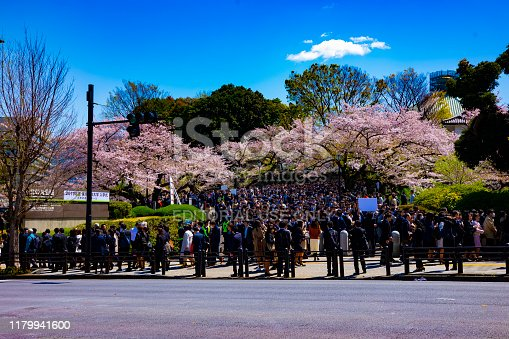 825525754istockphoto A crowd with cherry trees at Kudanshita street in Tokyo in spring wide shot 1179941600