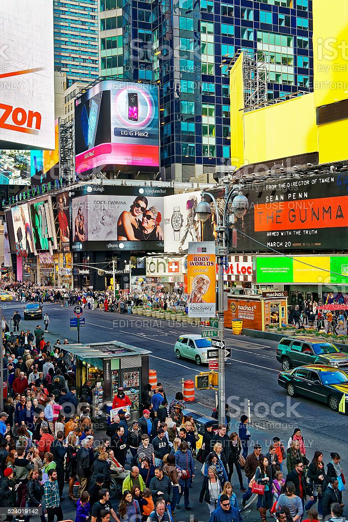 Crowded 7th Avenue and West 44th Street in Midtown Manhattan stock photo
