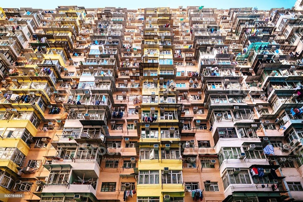 crowded apartment building in Hong Kong, China stock photo