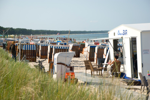 Crowded beach at Baltic Sea in Binz, Germany