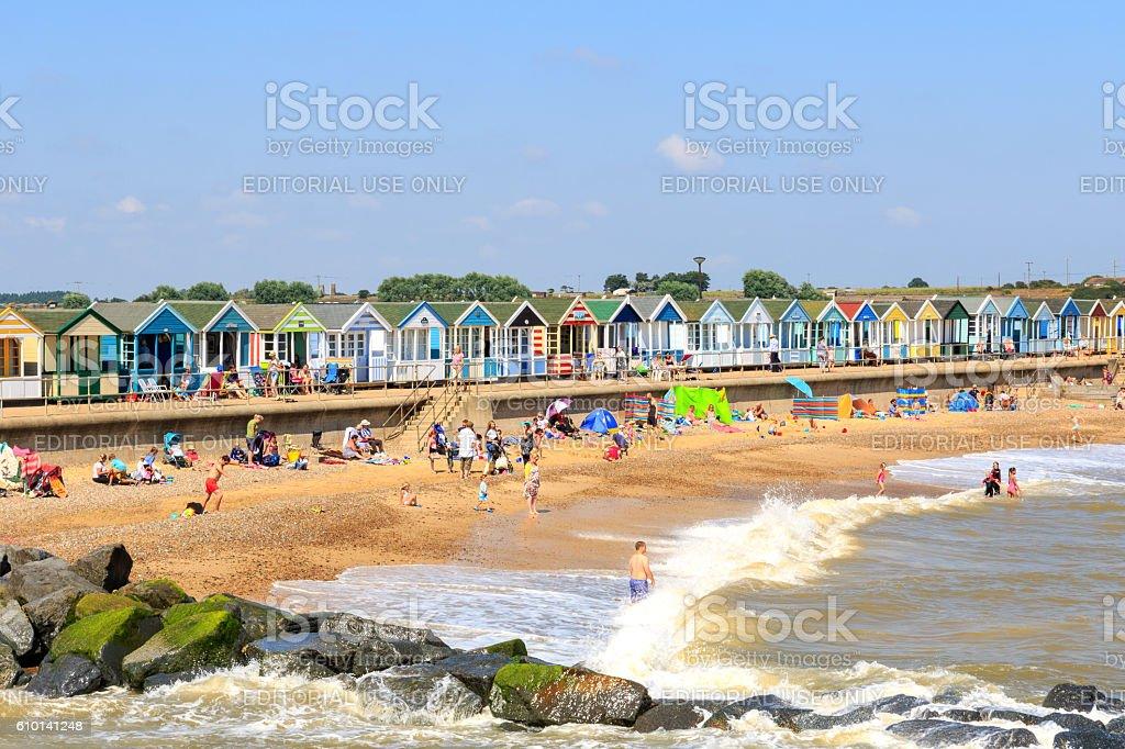 Crowded Beach at Southwold in UK stock photo
