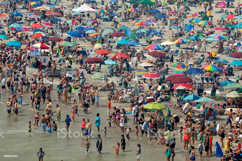 Crowded Beach in Atlantic City, New Jersey stock photo