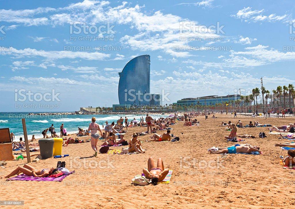 Crowded beach of Barceloneta - Barcelona stock photo