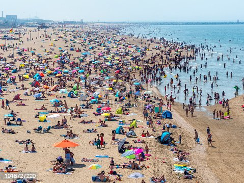 timelapse of crowded beach and sea st Scheveningen, the Netherlands