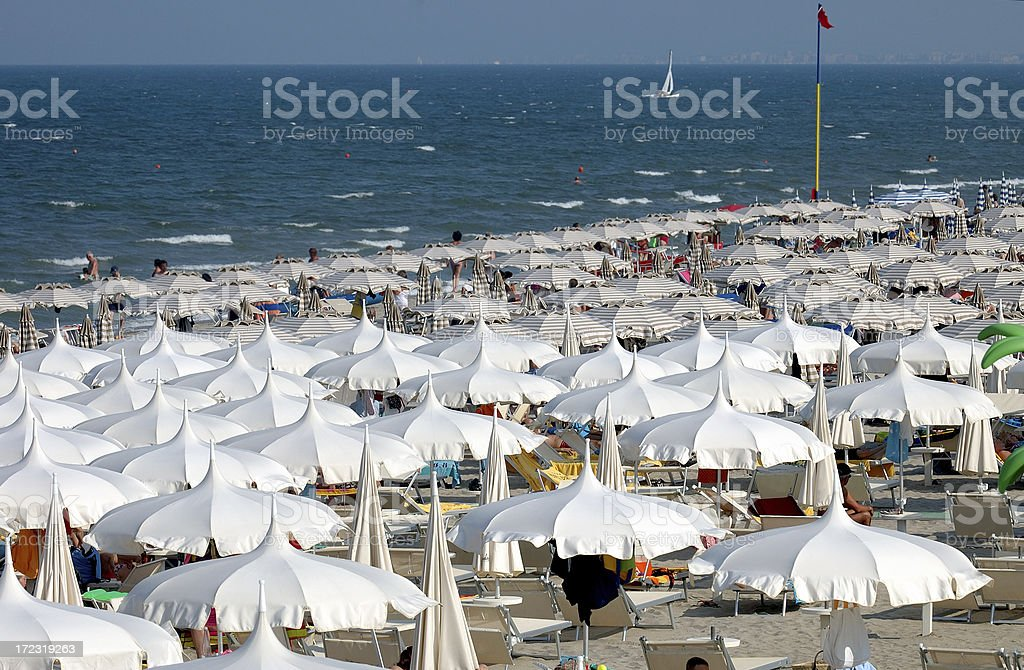 Crowded beach royalty-free stock photo