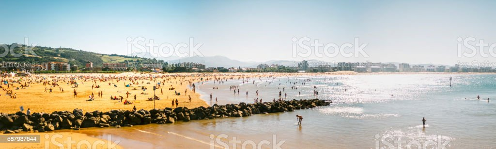 Crowded beach stock photo