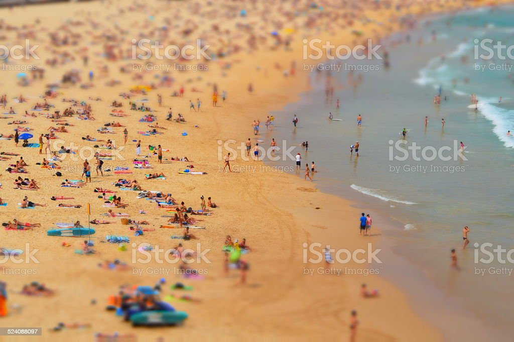 Crowded Bondi Beach stock photo