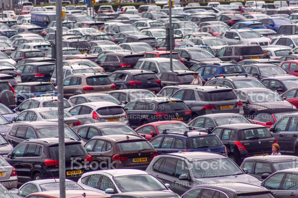 Crowded booked Edinburgh airport car parking at scotland england UK stock photo