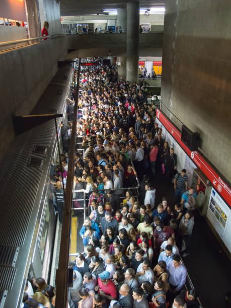 Crowded brazilian subway station - Se station stock photo