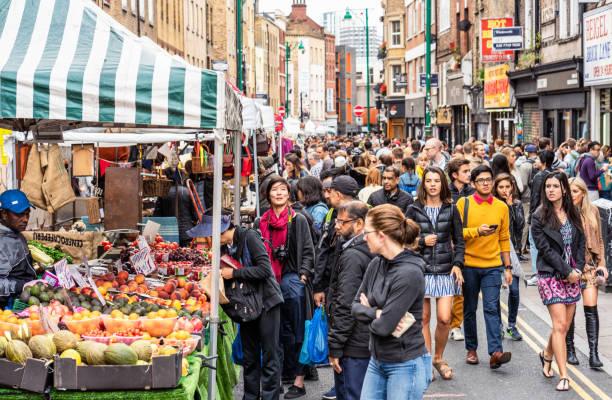 Crowded Brick Lane, London stock photo
