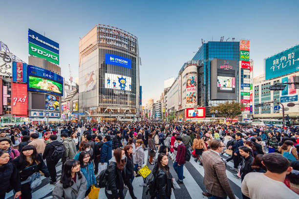 Crowded Busy Tokyo Shibuya Crossing Japan – Foto