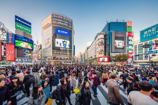 Crowded Busy Tokyo Shibuya Crossing Japan stock photo