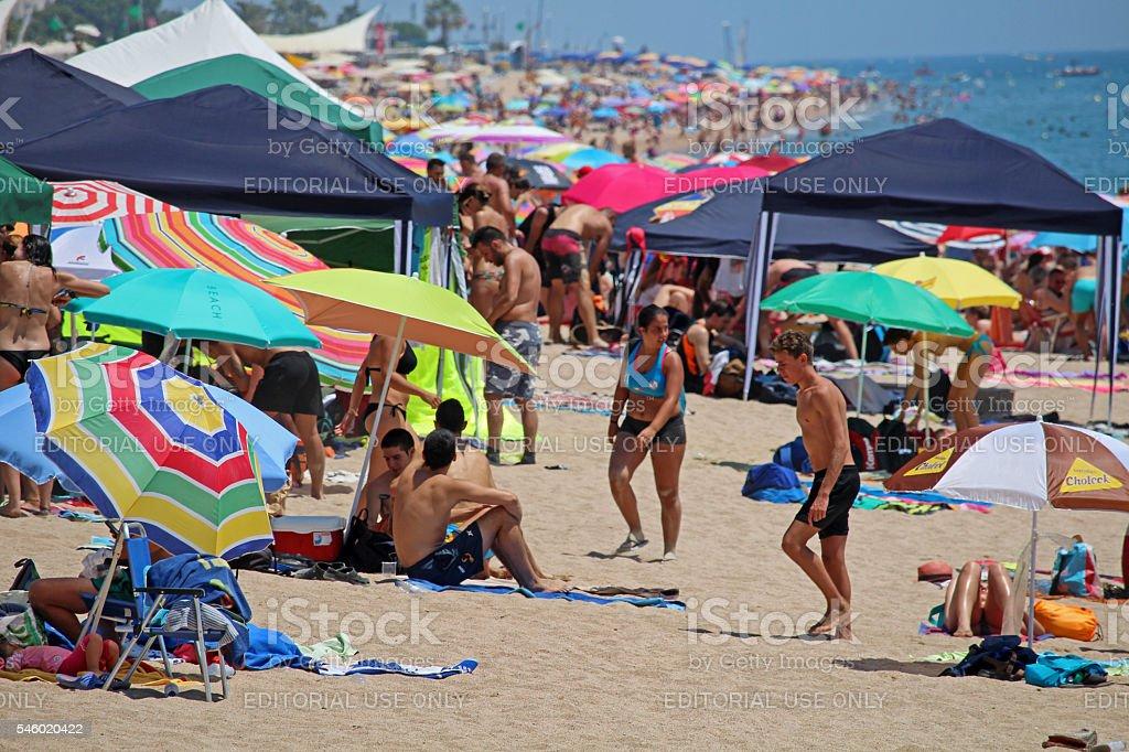 Crowded Calella beach stock photo