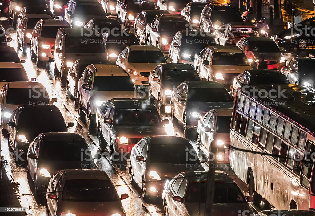 Crowded car in the night stock photo