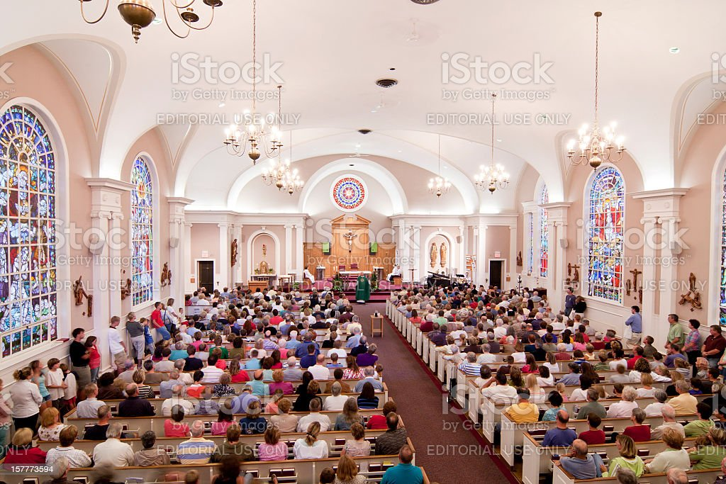 Crowded Church stock photo