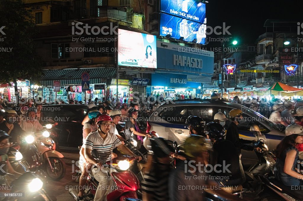 Crowded city center traffic road in Hanoi stock photo