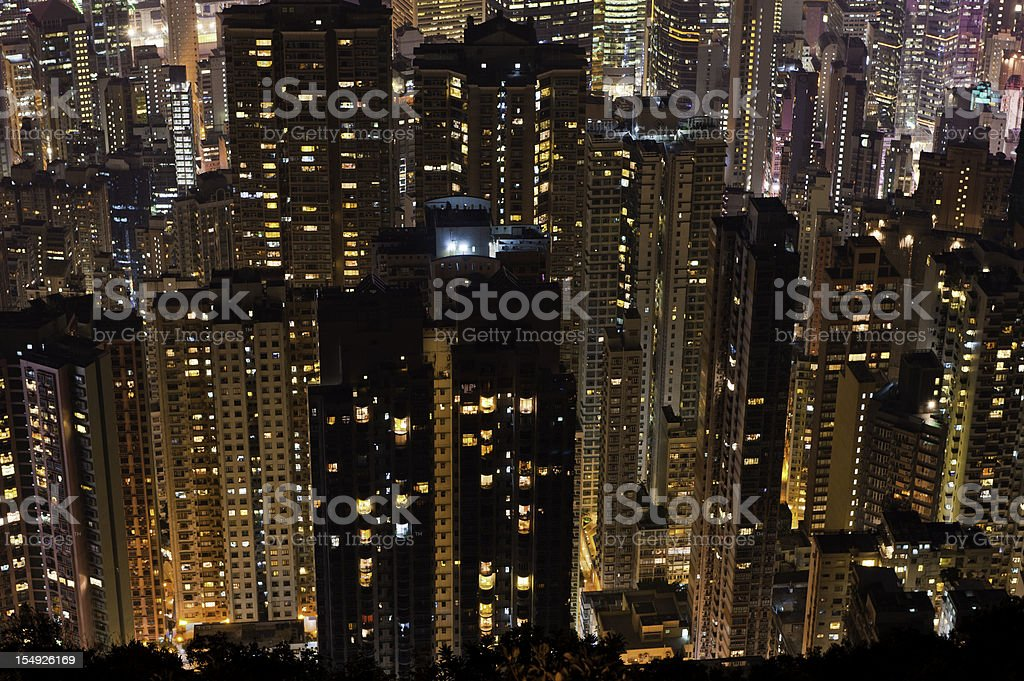 Crowded city high rises apartment towers skyscrapers Hong Kong China royalty-free stock photo