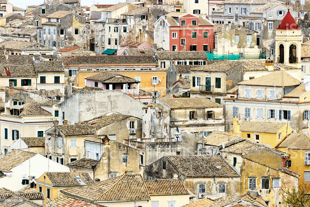 Crowded color buildings in the old city of Corfu. stock photo