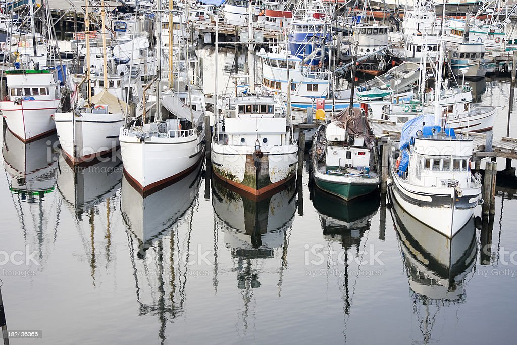 Crowded Commercial Fishing Fleet stock photo