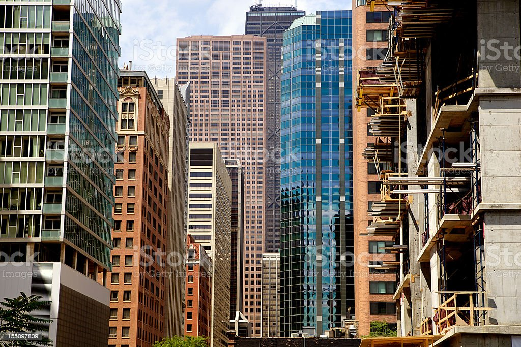 Crowded Downtown Chicago Old and New royalty-free stock photo