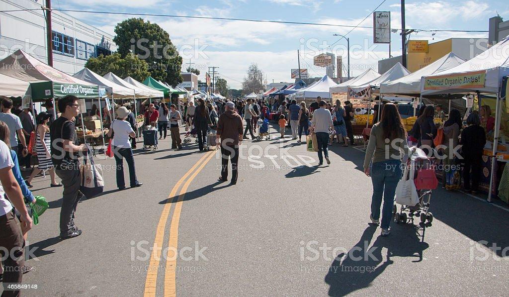 Crowded Farmers Market stock photo