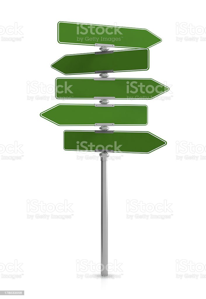 Crowded green directional sign post stock photo