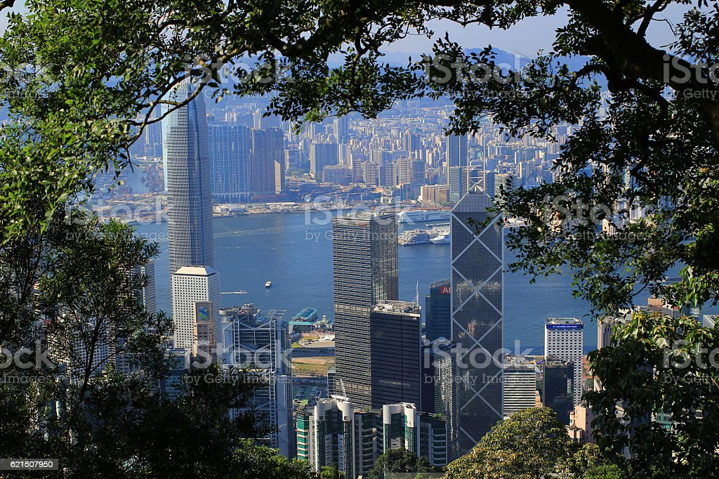 Crowded Hong Kong skyline scene foto stock royalty-free