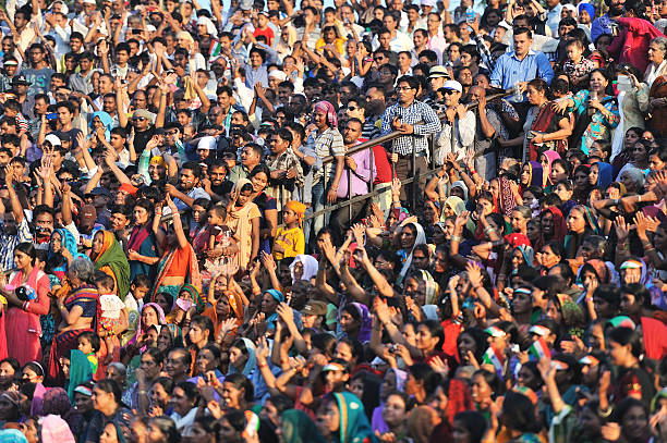 crowded Indian people stock photo