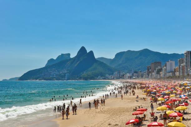 Crowded Ipanema Beach in Rio de Janeiro stock photo