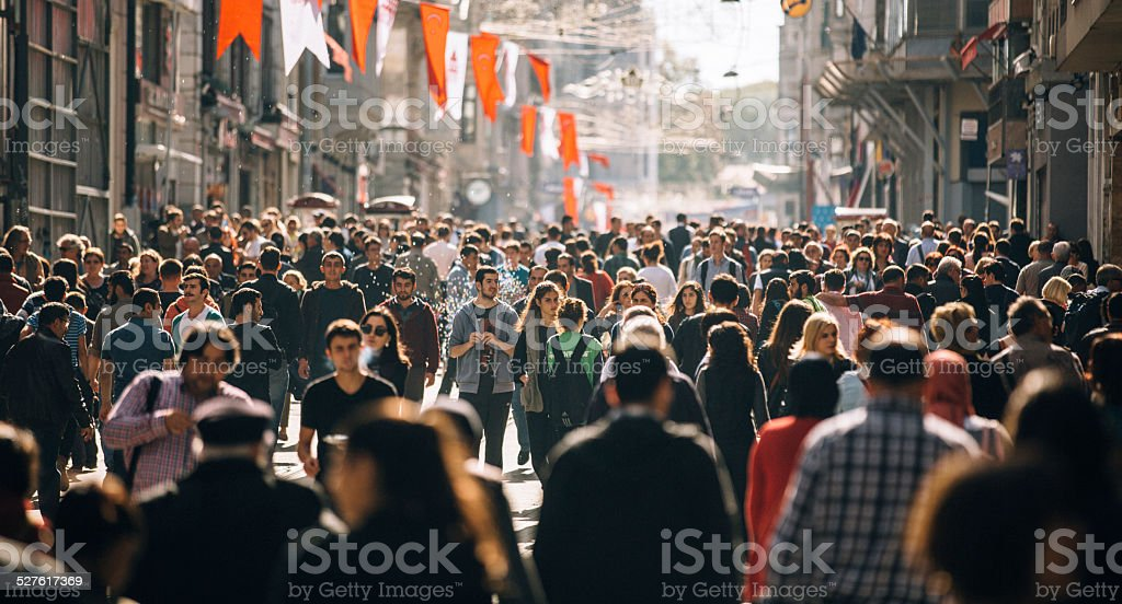 Crowded Istiklal street in Istanbul stock photo