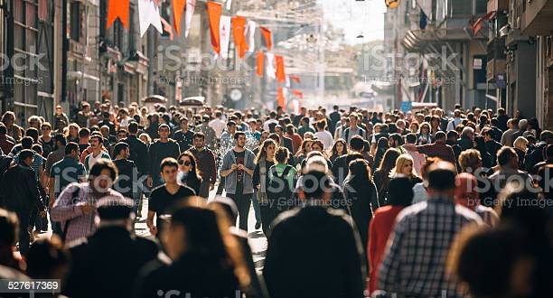 Crowded Istiklal Street In Istanbul Stock Photo - Download Image Now