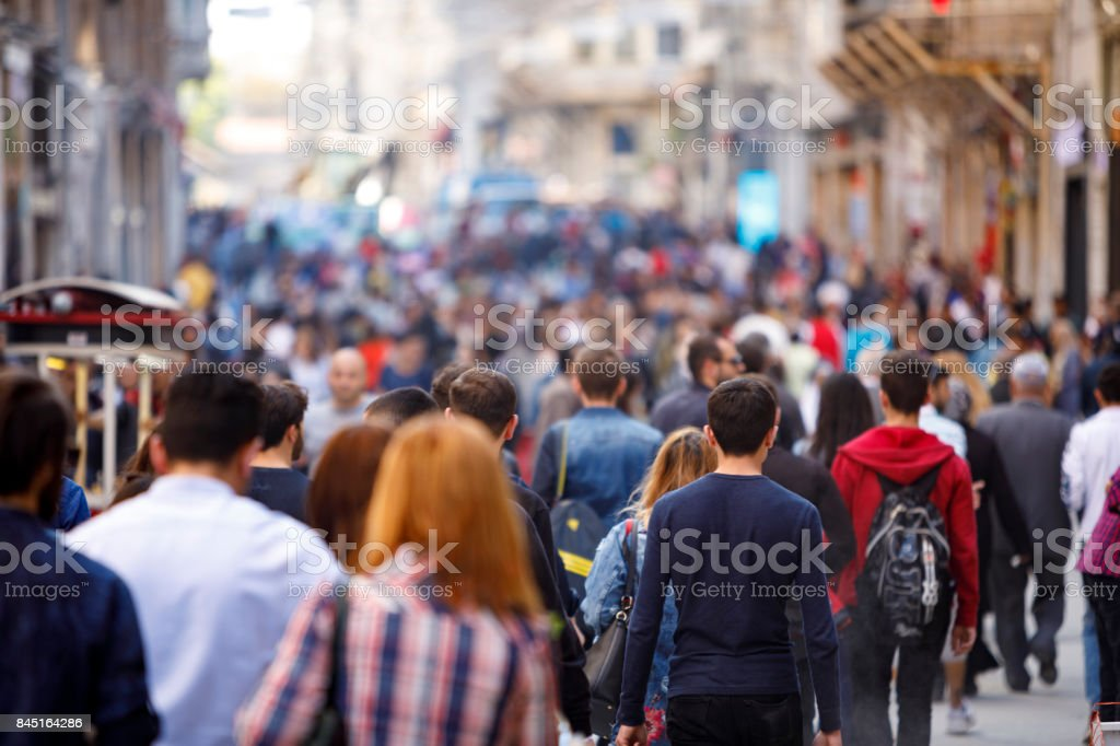 Crowded Istiklal street in Taxim, Istanbul stock photo