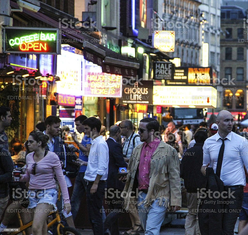 Crowded Leicester Square, London stock photo