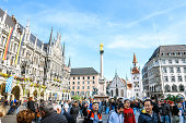 istock crowded Marienplatz in Munich with new and old town hall 1177434275