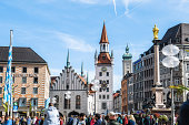 istock Crowded Marienplatz in Munich with Old Town hall at Sunny Day 1177434187