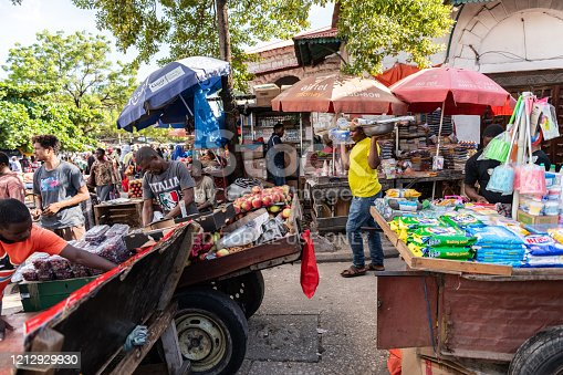 Zanzibar, Tanzania - February 21, 2019: crowded market place in Stone Town, Zanzibar