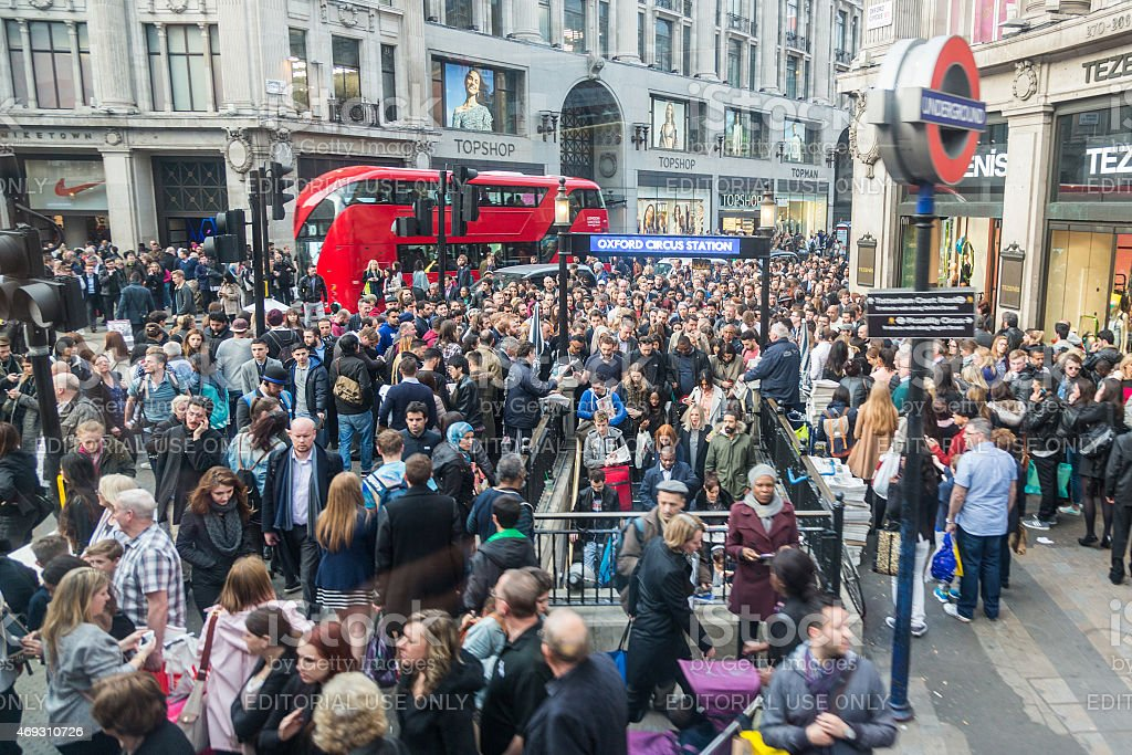 Crowded Oxford Circus Station entrance in London stock photo