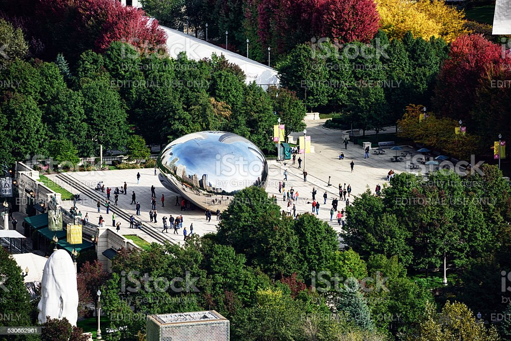 Crowded Park in Chicago, from above stock photo