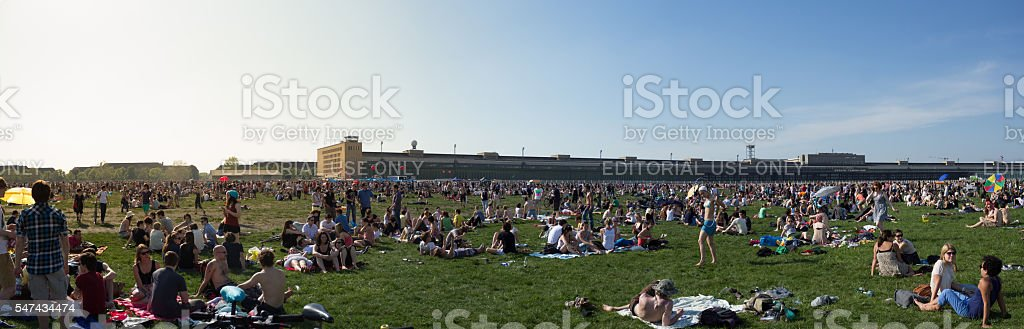 Crowded park -  People at  Tempelhofer Feld in Berlin stock photo