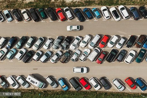 Directly abvoe view of a crowded parking lot