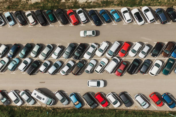 Crowded parking lot stock photo