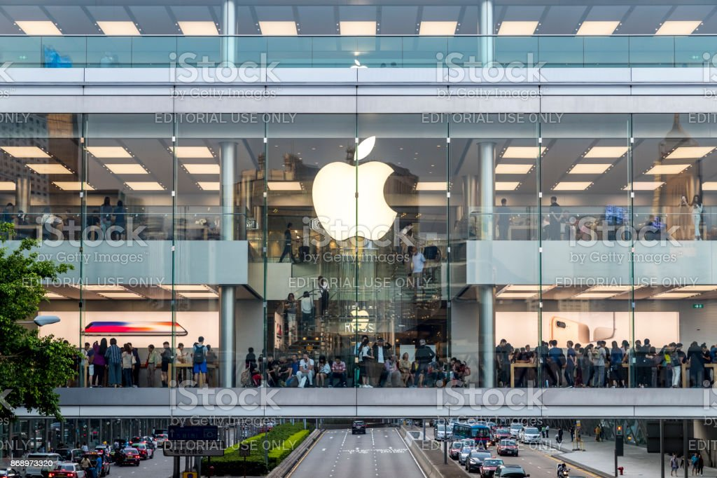 Crowded people shopping at Apple store of IFC mall just 5 days before iPhone X release at Sunday afternoon stock photo