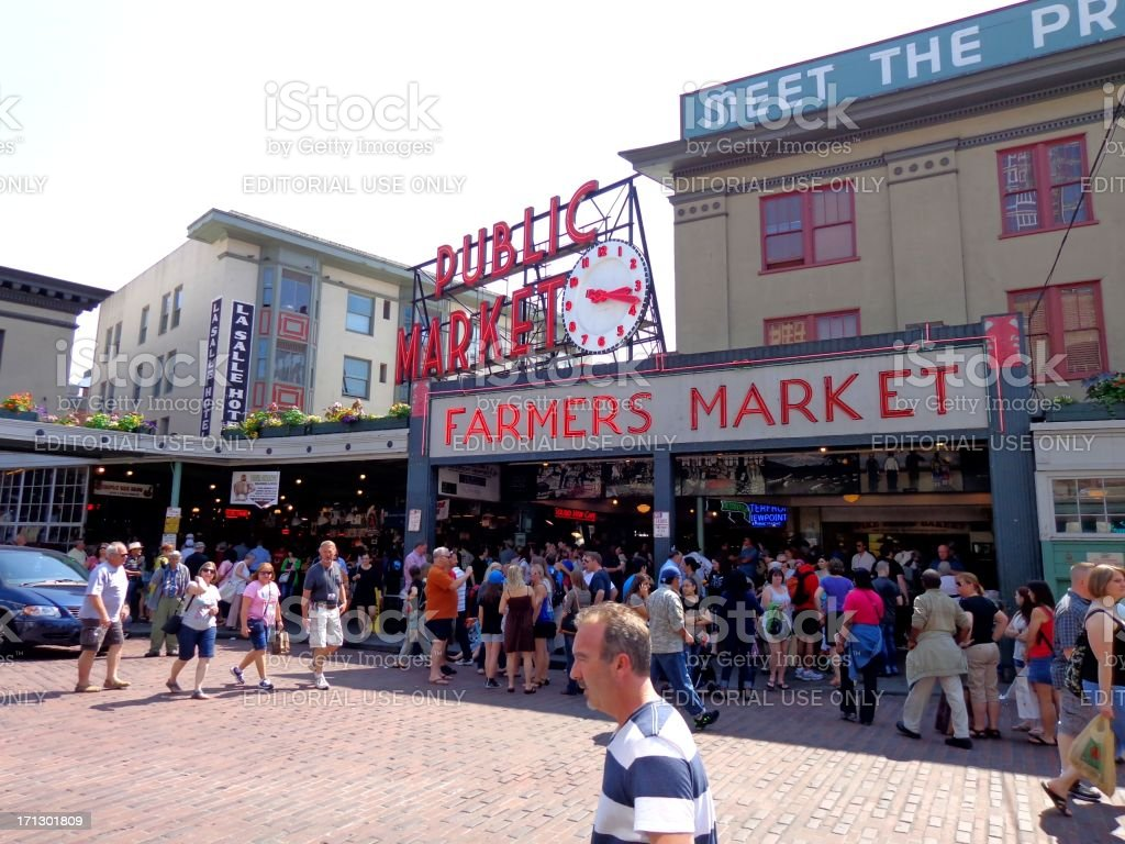 Crowded Pikes Place Market in Seattle Washington royalty-free stock photo