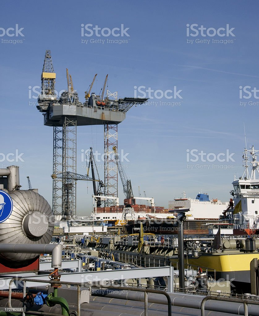 Crowded Rotterdam harbor stock photo